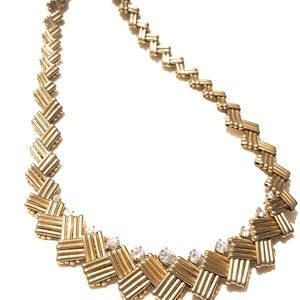 Jewelry - Geometic(Costume) Gold and Rhinestone Necklace